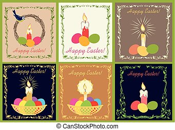Retro Easter greeting cards collection with candle and painted eggs