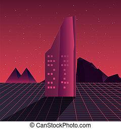 retro, edifícios, futuro, cena, etiqueta