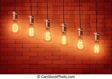 Retro edison light bulb text - Decorative Retro design ...