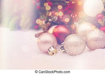 retro, effect, achtergrond, kerstmis