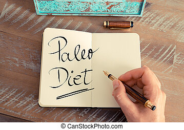 Handwritten text Paleo Diet - Retro effect and toned image ...