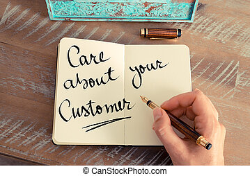 Handwritten text Care About Your Customer