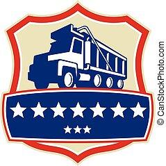 retro, eje, camión, basurero, estrellas, cresta, triple