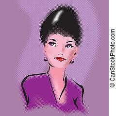 retro, elegant, vrouw beeltenis, in, klapen kunst, stijl