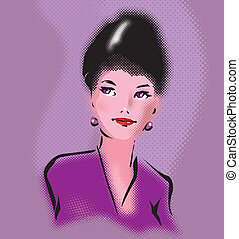 Retro elegant woman portrait in pop art style