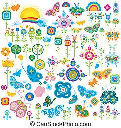 retro, elementos, flores, y, mariposas