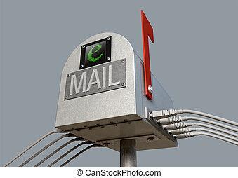 Retro Email Postbox - An three quarter view of a retro email...