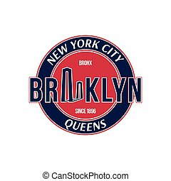 Retro emblem city of New York and the Brooklyn Bridge.