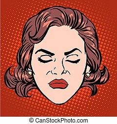 Retro Emoji anger rage woman face pop art retro style