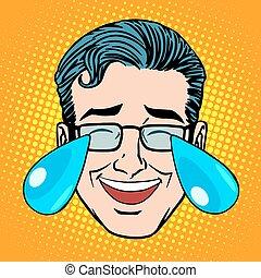 retro, emoji, pianto, gioia, faccia uomo