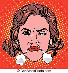 Retro Emoji rage anger boiling woman face pop art retro...