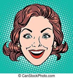 Retro Emoji smile joy woman face pop art retro style