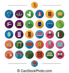 retro, encanamento, mobília, e, outro, teia, ícone, em, caricatura, style., chuveiro, cabana, pano, ícones, em, jogo, collection.