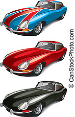 retro english sport car set - Vectorial icon set of retro ...