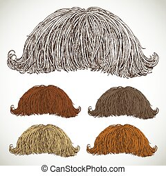 retro, ensemble, classique, luxuriant, moustache