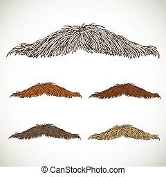 retro, ensemble, classique, mince, moustache