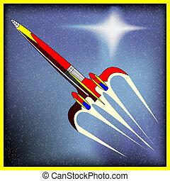 retro, espacie cohete, vector, plano de fondo, con, un, comic-book, nave espacial