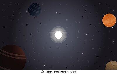retro, espacio, con, planeta, y, estrella, paisaje