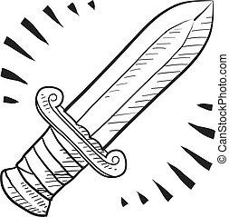 retro, espada, bosquejo