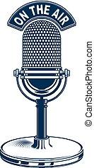 retro, estúdio, microfone, vetorial, illustration.,...