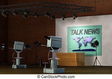 retro, estúdio televisão