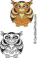 retro, estilizado, marrón, búho, pájaro, mascota