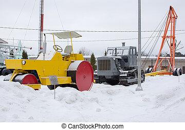 retro, estrada, equipment., inverno, landcape
