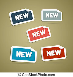 retro, etiketten, markeringen, set, met, nieuw, titel