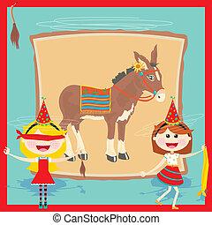 retro, ezel, feestje, uitnodiging