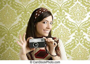 retro, fénykép fényképezőgép, nő, zöld, hatvanas évek, tapéta