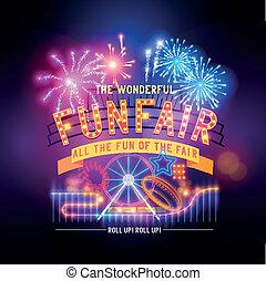 retro, fairground, circo, sinal