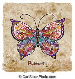 retro, farfalla, su, uno, vendemmia, fondo