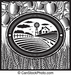 Retro farm black and white - Retro farm in woodcut style. ...