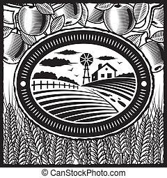 Retro farm black and white - Retro farm in woodcut style. ...