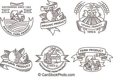 Retro farm fresh labels, badges and design elements