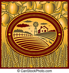 Retro farm in woodcut style. Vector illustration with clipping mask.