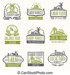Retro farm market signs. Vintage fresh organic food vector labels with harvest field