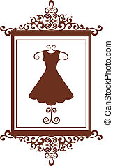 retro fashion boutique sign with dress