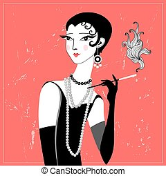 retro fashion girl - graphic portrait retro girl on a red...