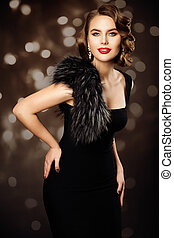 Retro Fashion Model Hairstyle Makeup, Woman Old Fashioned Beauty Portrait, Vintage Black Dress Fur