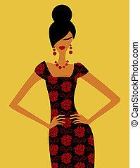 Retro Fashion Model - Illustration of a fashion model posing...