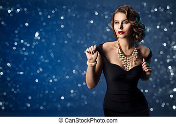 Retro Fashion Model, Old Fashioned Woman Beauty Portrait, Hairstyle Makeup Luxury Jewelry over blue background