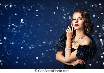 Retro Fashion Model Portrait, Old Fashioned Woman Beauty Portrait, Hairstyle Makeup, Luxury Jewelry and Fur