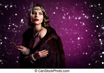 Retro Fashion Model Smoking Cigar, Woman Beauty Hairstyle Makeup, Old Fashioned Portrait over Purple Background