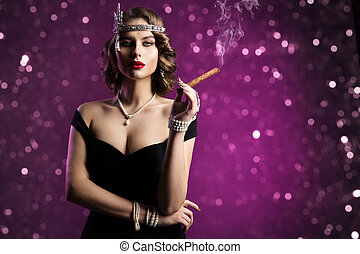 Retro Fashion Model Smoking Cigar, Woman Old Fashioned Beauty Hairstyle Makeup, Vintage Portrait over Purple Background