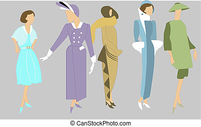Elegant fashions from the 1920's to 1960, in colours of their era. Women always dressed well, and lovely colours as well.. For many usages..