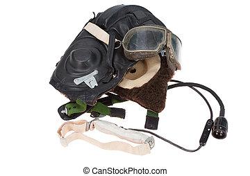 retro fasion pilot helmet with goggles