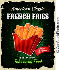 Retro Fast Food French Fries Poster