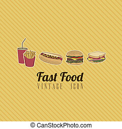 retro fast food - Illustration of fast food vintage, retro...