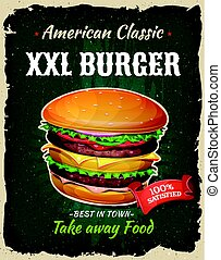 Retro Fast Food King Size Burger Poster - Illustration of a ...